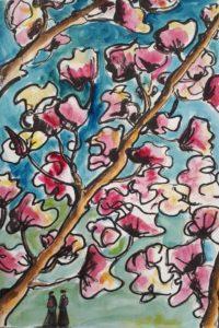 Cerisiers en fleurs / Aquarelle et encre / 50 x 70