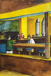 Le bar de la station / Aquarelle et encre / 50 x 70