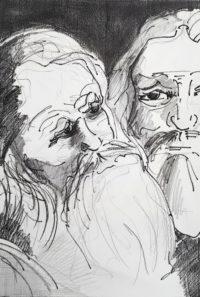 Réunion de barbes / Encre / 50 x 70