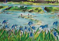 L'étang aux lys, phase finale / Encre et aquarelle / 70 x 50