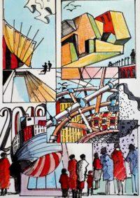 Visite du salon d'architecture 2018 / Mines de couleurs et encre / 50 x 70