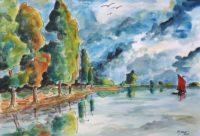 Vue du fleuve / Aquarelle et encre / 70 x 50