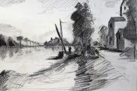 Quai du fleuve / Encre / 70 x 50