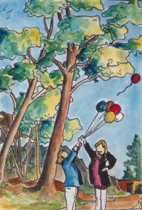 Un lâcher de ballon accidentel / Aquarelleet encre / 50 x 70