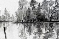 Bord du lac / Encre / 70 x 50