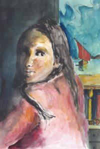 Jeune fille au bateau / Aquarelle et encre / 50 x 70