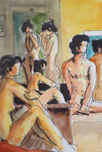 Séance 4 / Aquarelle et encre / 50 x 70