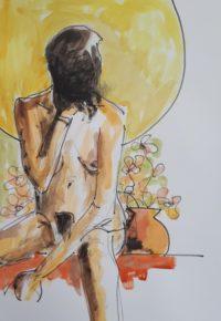 La pose réfléchie / Aquarelle et encre / 50 x 70