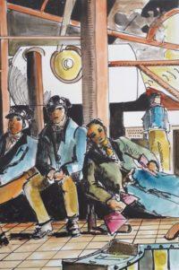 La pose des fondeurs, phase finale / Encre et aquarelle / 50 x 70