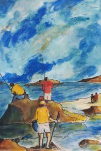 Le coin des pécheurs / Acrylique , aquarelle et encre / 50 x 70