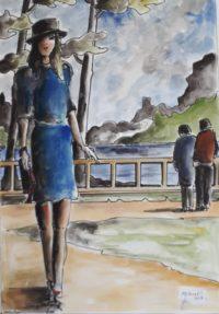 Jeune femme en bleu / Aquarelle et encre / 50 x 70