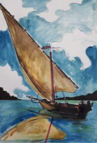 Voile sur le lac / Aquarelle et encre / 50 x 70