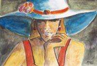 Au chapeau blanc / Aquarelle et encre / 70 x 50
