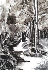 Promenade forestière / Encre / 50 x 70