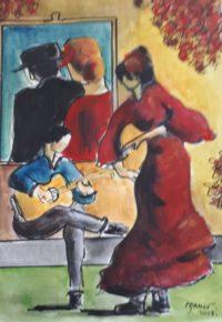 Flamenco / Aquarelle et encre / 50 x 70
