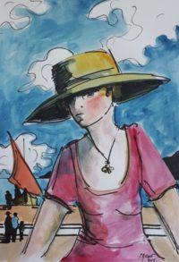 Jeune femme en rose / Aquarelle et encre / 50 x 70