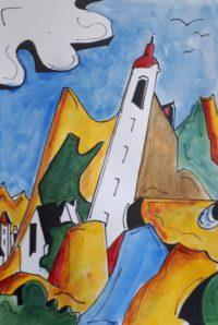Le clocher / Acrylique, aquarelle et encre / 50 x 70