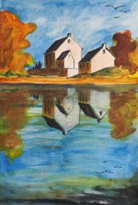 Reflets du hameau / Acrylique et encre / 50 x 70