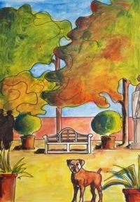 Le gardien du parc / Aquarelle et encre / 50 x 70