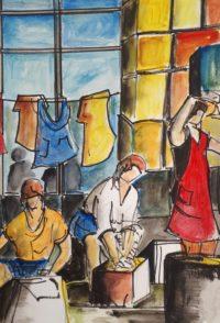Lingères au travail / Aquarelle et encre / 50 x 70