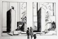 Visite à la galerie 1 / Encre / 70 x 50