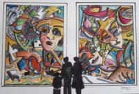 Visite à la galerie 2 / Aquarelle et encre / 70 x 50