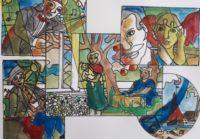 Famille à la campagne / Aquarelle et encre / 70 x 50