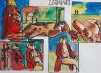 Yanna 2 / Aquarelle et encre / 70 x 50
