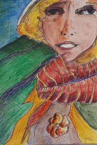 Visage / Mines de couleurs aquarelle / 50 x 70