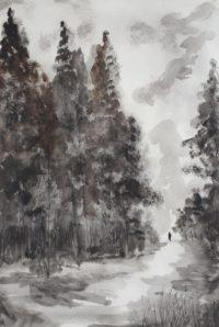 En forêt / Encre / 50 x 70