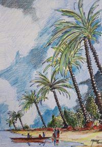 Les palmiers / mines de couleurs aquarelle / 50 x 70