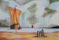 L'arrivée du voilier / Mines de couleurs aquarelle / 70 x 50