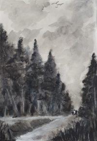 Promenade en forêt / Encre / 50 x 70