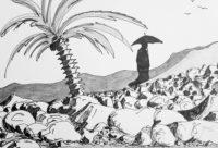 Ombrelle au palmier / Encre / 70 x 50