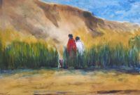 Au pied de la falaise / Aquarelle / 70 x 50