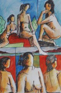 Modèles en compagnie / Aquarelle et encre / 50 x 70