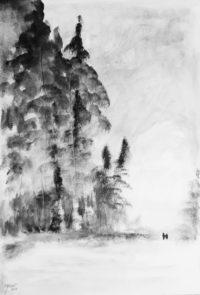 En bordure de forêt / Encre / 50 x 70
