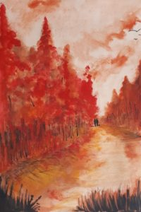 Forêt rouge /Aquarelle / 50 x 70