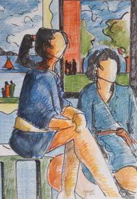 Les deux sœurs / Mines de couleurs aquarelle / 50 x 70