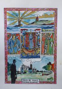 700 ans , l'église de Boulogne Billancourt, sa création / Aquarelle et encre / 50 x 70