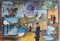 700 ans , l'abreuvoir, bord de Seine / Aquarelle et encre / 70 x 50