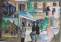 700 ans , les mairies successives / Aquarelle et encre / 70 x 50