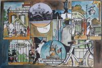 700 ans , le moulin rose , berge de Seine / Aquarelle et encre / 70 x 50