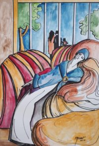L'endormie / Aquarelle et encre / 50 x 70