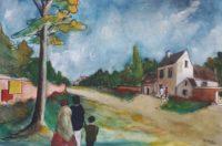 Sortie du bourg / Aquarelle / 70 x 50