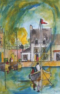 Le quai / Aquarelle / 50 x 70