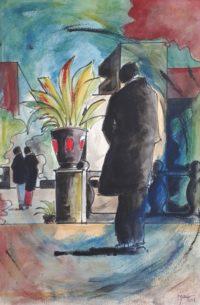 Silhouette masculine / Aquarelle et encre / 50 x 70