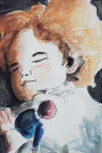 l'endormie à la poupée / Aquarelle et encre / 50 x 70
