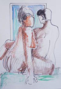 Duo / Aquarelle et encre / 50 x 70