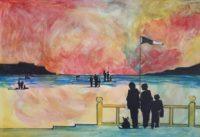 Touristes à la plage / Aquarelle et encre / 70 x 50